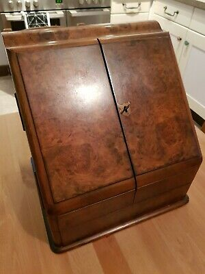 Antique Victorian Burr Walnut Portable Writing Box Slope Beautiful Condition