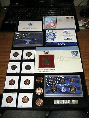 Junk Drawer Coin Lot 2003 Proof Set Old Coins Silk 1st day Copper Quarters Dolla