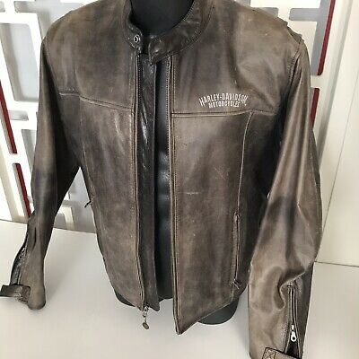 Harley Davidson Brown Leather Embroidered Jacket Zip Up Sleeves Mens Size Large