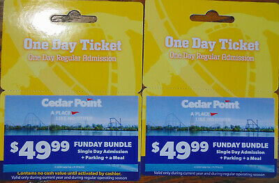 Cedar Point - 2 Funday Bundle Tickets - Admission + Parking + Meal
