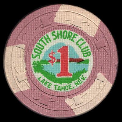 $1 SOUTH SHORE CLUB Lake Tahoe, H&C (C&J) mold  vintage 1965 old casino chip
