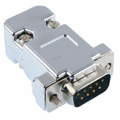 9-Way D Connector Plug Solder Lug + Metallised Hood Cover