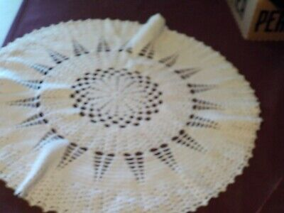 Vintage Pretty Handcrocheted Doily- Large Off White Round Tight Stitch