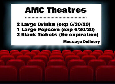 2 AMC Movie Black Tickets, 2 Large Drinks, and 1 Large Popcorn Message Delivery