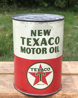 Vintage New TEXACO MOTOR OIL 1 Quart Gas Service Station Can Man Cave Sign