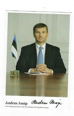 "Prime Minister of Estonia Andrus Ansip signed Photo on 4"" x 6"" card COA"