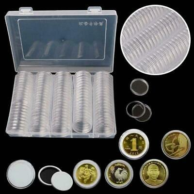 100Pcs Clear 30mm Coin Capsules Holder Display Collection Cases With 20-27mm Pad