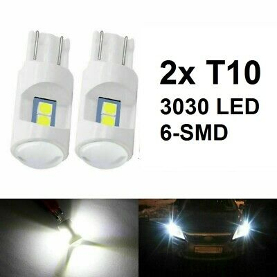 2x T10 3030 LED 6SMD Bulb W5W 168 194 White Light 500LM Car Auto Wedge Side Lamp