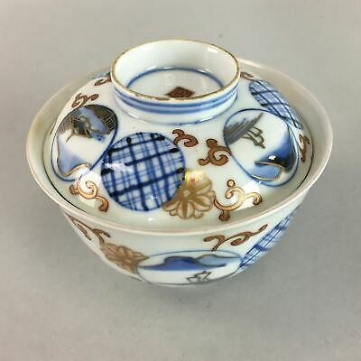 Japanese Imari Lidded Rice Bowl Antique Porcelain Sumetsuke Blue White PT769