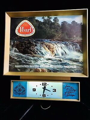 VINTAGE PEARL WATERFALL MOTION Clock Sign Light SPECTACULAR 70s TEXAS BEER Rare