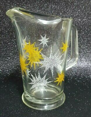 Vintage Glass Water Jug - Table Retro White & Yellow Stars 70s Serving Tableware
