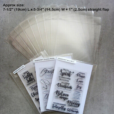 "*SPECIAL* 50 x LG STAMP DIE STORAGE POCKETS STRAIGHT FLAP 7-1/2x5-3/4+1"" 100 MIC"