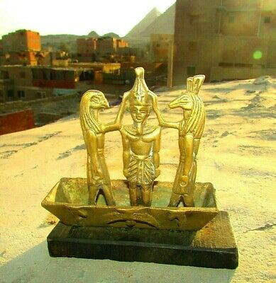 """ِAntique Pharaonic Boat Of King Ramses & The God """"Thoth"""" Made Of Wood & Copper"""