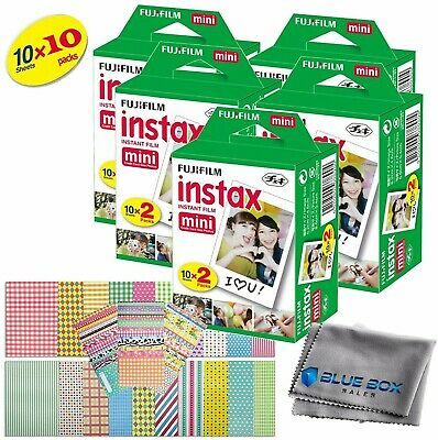 Fujifilm Instax Mini Instant Film -100 SHEETS- For Mini 8 & 9 Cameras + Stickers