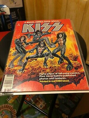 KISS 1977 A Marvel Comics Super Special #1 Comic Printed in Real KISS Blood