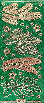 Sparkle Glitter Shimmer HOLLY Sprigs Leaves PEEL OFF STICKERS Christmas Stars