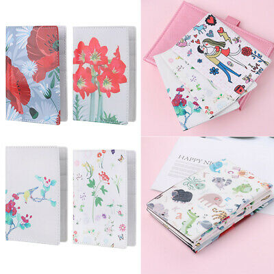 Cartoon Flowers Patterned Floral PU Leather Passport Cover Travel ID Wallet