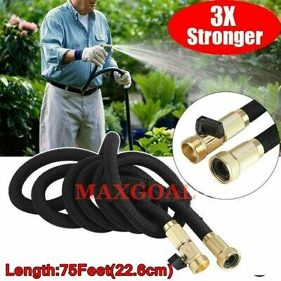 75 Feet Expandable Flexible Garden Water Hose Brass Retractable Watering NEW WY