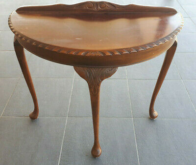 ANTIQUE VINTAGE  HALF ROUND TIMBER SIDE HALL TABLE Circa 1950/60's