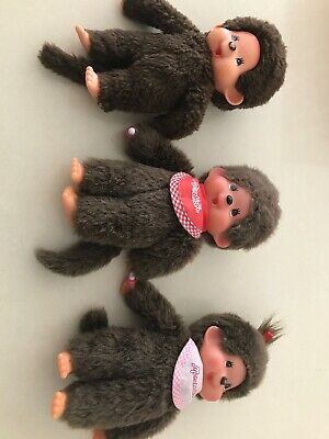 Vintage Monchichi X 3 Dolls