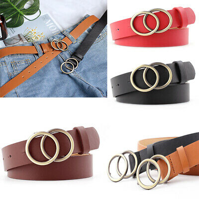 Women's Belt Gold Silver Circle Metal Buckle Belts Leather Dress Jeans Waistband