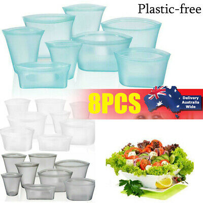 8X Silicone Food Storage Bags Zip Leakproof Containers Plastic-Free Reusable Set