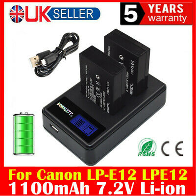 2X 1100mAh LP-E12 Battery + LCD Dual Charger for Canon M M2 M10 M100 Rebel SL1