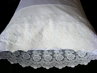 Embroidered Pillow Cases White king --100% Cotton Sateen --Thread count 300 Pr.