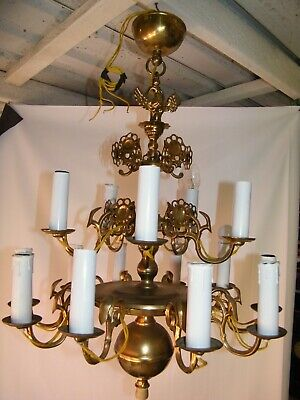 Vintage Solid Brass Chandelier 15 Light  Weighs 12kg Complete with Chain and Cei