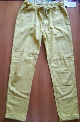 Ladies Girls Yellow Trousers Cotton Made in Italy Size Uk 8