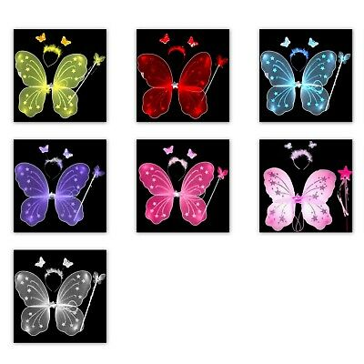 3pcs Fairy Wings Set Wing Hairband Wand Butterfly Angel Princess Girl Dress Up