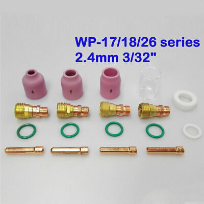 TIG Welding Torch Stubby Gas Lens Glass Cup Consumables Set Kit For WP-17 18/26