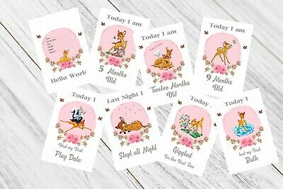 Baby Milestone Cards, Bambi, Girls Pink, 33 Cards,300gsm card stock, photo prop,
