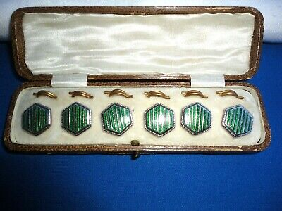Set Of Six Art Deco  Gilt Metal  Green Guilloche Enamel Shirt Buttons, Orig Box