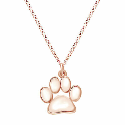 """Valentine's Day Paw Print Pendant W/18"""" Chain 14k Rose Gold Over Silver"""