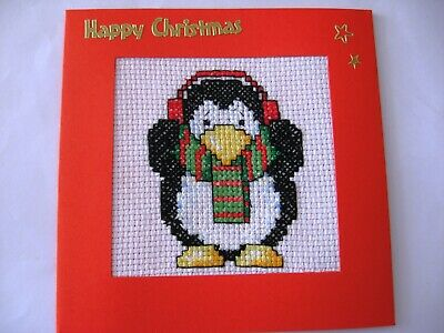 "Christmas Card Completed Cross Stitch Penguin & Earmuffs 5.5""sq"