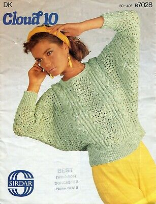 "Sirdar 7028 Lady Sweater DK 30-40"" Vintage Knitting Pattern"