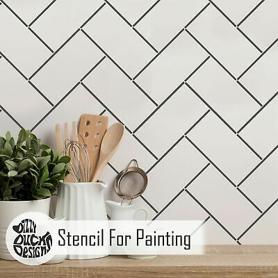 METRO HERRINGBONE Tile Stencil DIY Faux Tile Bathroom Kitchen Wall