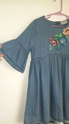 NEXT girls denim dress 9 years floral embroidery boho smock peasant blue casual