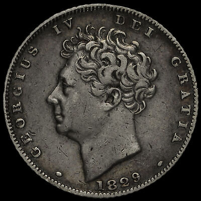 1829 George IV Bare Head Milled Silver Sixpence, VF