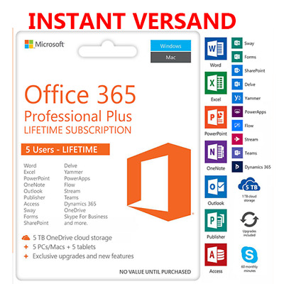 Microsoft Office 365 Professional Plus 2019 for 5 PC/MAC / android Zugang Sofort