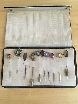 10 VICTORIAN 10k & Silver Stick Pins W/Case Stones Scarab Nugget Antique FREE SH