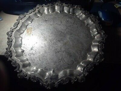 """Vintage Sheridan large silverplate tray, 17"""" round, footed serving tray"""