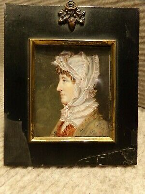 Antique early 19th century English portrait miniature painting of lady