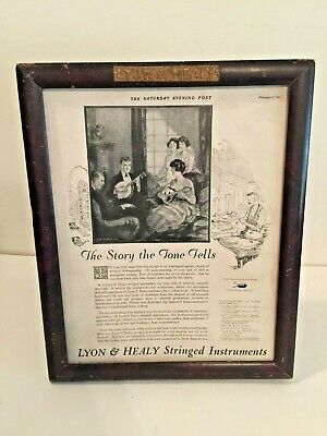 Rare Antique  Lyon & Healy Advertising Interchangeable Frame With Two Ads