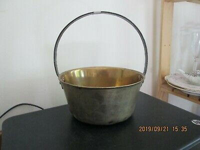 Antique Small Solid Brass Preserve Jam Pan Wrought Iron Handle