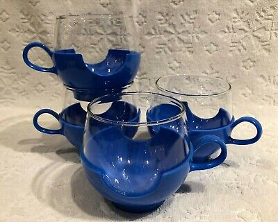 Vintage PYREX 1968+; Set-of-Four 2-Piece HOT+COLD DRINK-UP Drinking-Cups