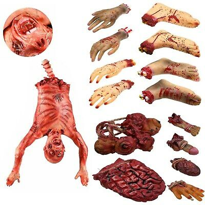 Halloween Realistic Hand Terror Bloody Fake Body Parts Severed Arm Leg Hand Prop