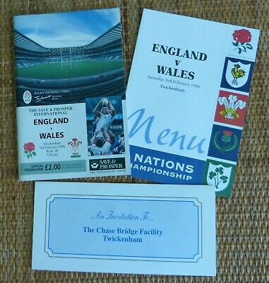 England v Wales Rugby Union 5 Nations Championships 03/02/1996 Match Programme