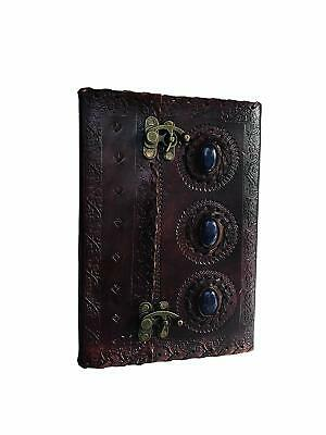 Leather Journal Book Medieval Stone Embossed Handmade Diary Free Shipping